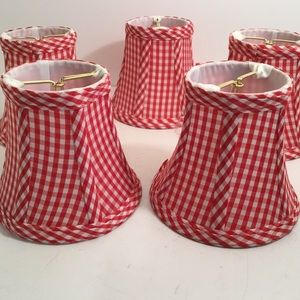 Red Gingham Chandelier Shades